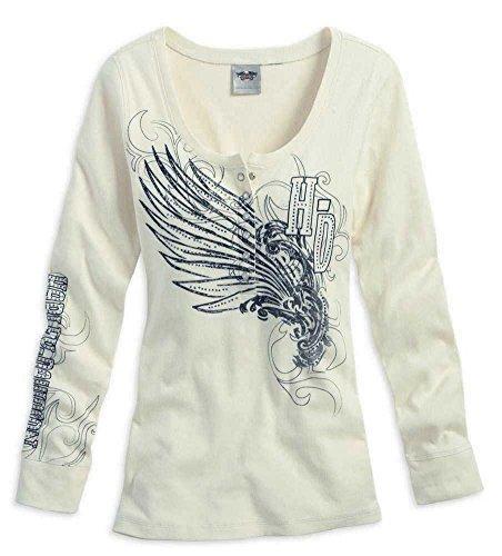 Harley-Davidson Women'S L/S Shirt, H-D Wing Henley Off White 96096-14Vw (Xl)
