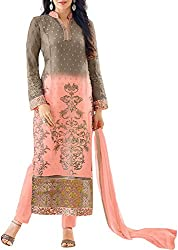 VIDA Women's Georgette Salwar Suit Material (Peach)