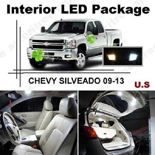 Ameritree Xenon White Led Lights Interior Package + White Led License Plate Kit For Chevy Silverado 2009 - 2013 (10 Pcs)