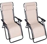 Outsunny Zero Gravity Recliner Lounge Patio Pool Chair - 2 PACK - Cream