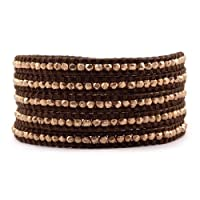 Chan Luu Rose Gold Wrap Bracelet on Brown Leather