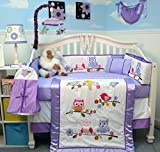SoHo Lavender Owls Party Baby Crib Nursery Bedding Set 14 pcs thumbnail