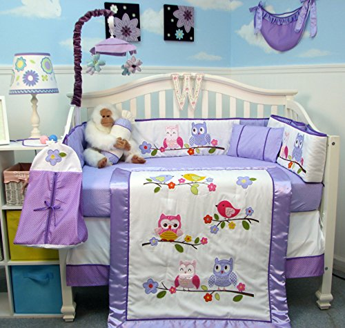 SoHo Lavender Owls Party Baby Crib Nursery Bedding Set 14 pcs image