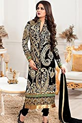 Shree Khodal Women's Black Georgette Dress Material [SK_JCN1011_E]