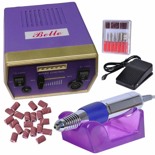 Belle Violet Kit Ponceuse Prof Electrique Lime Ongles Manucure - Machine lime rotative ongles pour Ongles Naturels Gels
