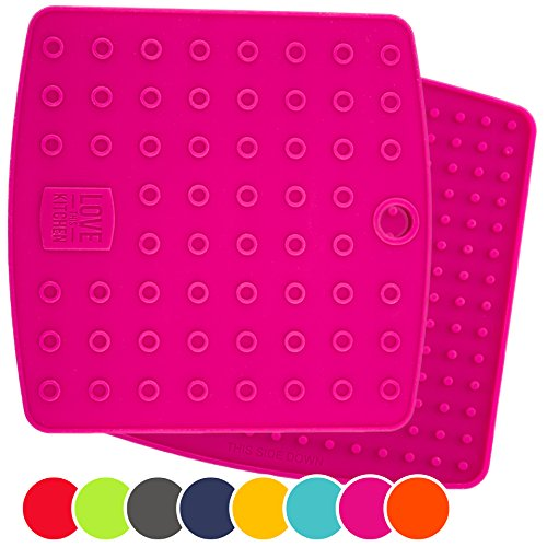 Set of (2) Premium, 5 in 1 Multipurpose Silicone Kitchen Tool: Trivet Mat, Pot Holders, Spoon Rest, Jar Opener, Coaster   Heat Resistant Hot Pads   Thick & Flexible   Great Gifts for Her (Fuchsia) (Teapot Mat compare prices)