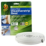 Duck Brand 280500 Heavy Duty Self-Adhesive Rubber Weatherstrip Seal For Small Gap, 3/8-Inch X 1/4-Inch X 17-Feet
