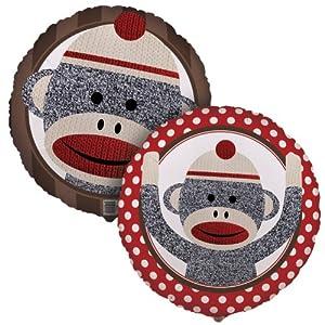 """Sock Monkey Red 18"""" Foil Balloon"""