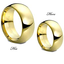 buy His & Hers Tungsten Ring Matching Band Set 9Mm Gold Overlay Dome Design - Tungsten Carbide Wedding Band - Promise Ring-Engagement Ring-Designer Band