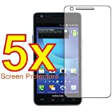 5x Samsung Galaxy S 2 II AT&T SGH-i777 Premium Clear LCD Screen Protector Cover Guard Shield Protective Film Kit (5 Pieces)
