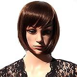 Hsg Fashion Lady Bob Wigs Fluffy Dark Brown Wigs Oblique Bangs Short Straight Wigs Jfg002