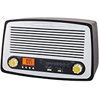 Nostalgie Retro Holz Musikanlage Radio mit USB MP3 Player SD-Card Musikanlage Uhrenradio Radiowecker K�chenradio Retroradio