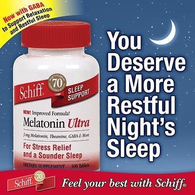 Schiff Mélatonine Plus 3 mg de mélatonine avec 25 mg de théanine - Pour soulager le stress et un sommeil plus profond - 300 Comprimés