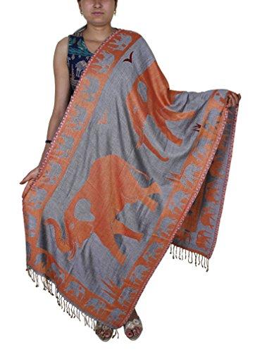 Elefante indiano rubato arancio bello scialle Paisley floreale per le donne-214 x 76 cm