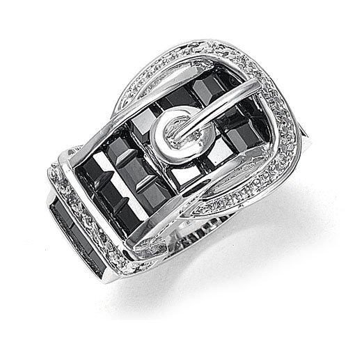 Jet CZ Designer Buckle Ring 8