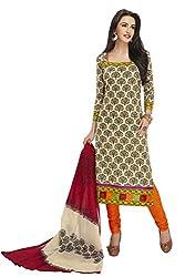 RK Fashion Womens Cotton Un-Stitched Salwar Suit Dupatta Material ( SANDHYA-PAYAL-2033-Beige-Free Size )