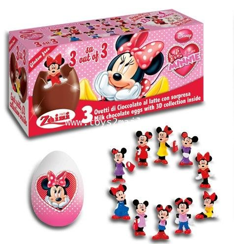 Disney Minnie & Friends Zaini Chocolate & 3D Collection Surprise 9 Eggs Random Pack
