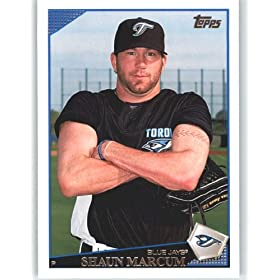 2009 Topps Baseball Card # 617 Shaun Marcum - Toronto Blue Jays - Shipped In Protective Screwdown Display Case!