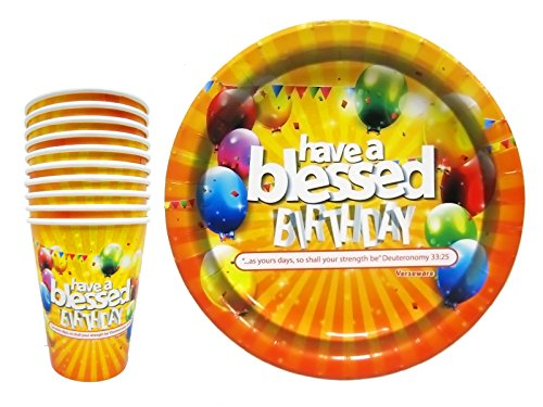Christian-Religious-Birthday-Tableware-Paper-Plates-and-Cups-For-Adults-Kids-All-Ages-Party-Have-a-Blessed-Birthday-20-Piece-Set-10-Plates-10-Cups