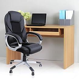 Songmics Noir Chaise fauteuil de bureau chaise pour ordinateur hauteur réglable simili cuir OBG22B