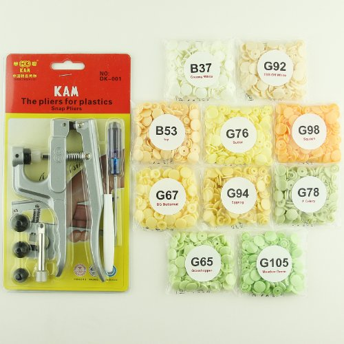 Purchase Bundle - 2 items: Starter Pack KAM Plastic Snap Setting Pliers & Awl Set with 100 Compl...