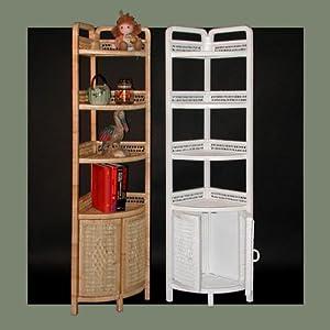 Amazon Com Tall Wicker Corner Shelf Corner Shelves