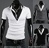 【BEST FASHION STYLE】 メンズ 半袖 シャツ Vネック 重ね着風 きれいめ 半そで シャツ 白 黒 グレー M/L/X/XXL