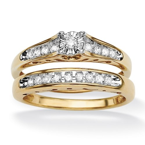 PalmBeach Jewelry 18k Gold over Sterling Silver Round Diamond Cutout Wedding Ring Set