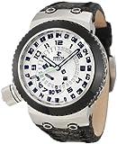 Invicta Men's 10008 Russian Diver Reserve Silver Dial Black Leather Watch