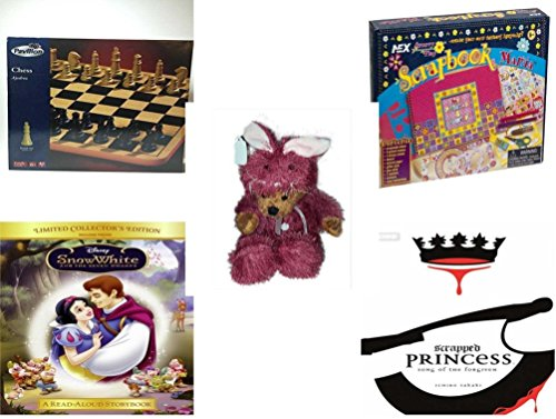 [Girl's Gift Bundle - Ages 6-12 [5 Piece] - Pavilion Chess Game Set - Scrapbook Mania Toy - Teddy Bear Plush In Purple Mouse Costume 12