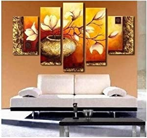 100% Hand Painted Modern Abstract Oil Painting on Canvas Wall Art Deco Home Decoration Golden Leaves 5 Pic/set Stretched Ready to Hang