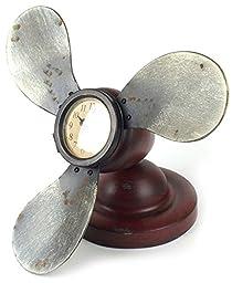 Vintage Red Metal Distressed Propeller Desk Clock