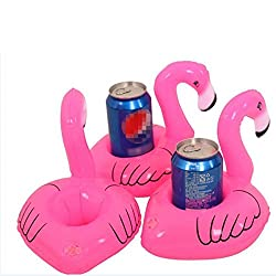 Mini Cute Pink Flamingo Floating Inflatable Drink Can Holder Pool Bath Toy Popse