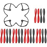AFUNTA Propeller Blades Protection Guard Cover and Props 5x sets for Hubsan X4 H107 H107L H107C H107D Quadcopter -- Black / Red
