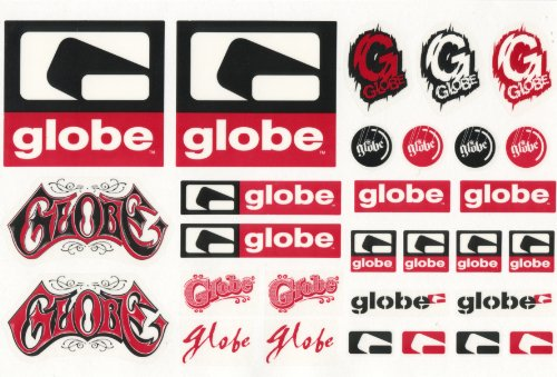 Globe Shoes Sticker Sheet - 29 Stickers For Skateboard Snowboard Bmx Laptop Scooters Moto-x