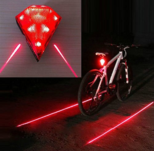 Qirg Rechargeable Bike Bicycle Cycling Safety Zone Tail Light, 8 Super Bright LED Taillights, 2 Red Laserwaterproof, 1000mah Li-ion Battery,180°adjustable Bracket, 220°visibility By Qirg