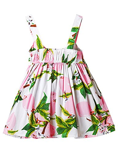 NNJXD Baby Girl Birthday Party Printed Sling Dress for Newborn and Toddler Size 13-24 Months Light Pink