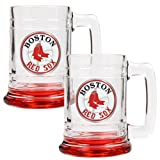 MLB Boston Red Sox Glass Tankard Set (2-Piece), 15-Ounce, Clear