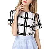 MIOIM ブラウス レディース 黒白色 チェック スタイル ワイルド 半袖 トップス 夏 エレガント カジュアル Tシャツ シフォン シャツ ランキングお取り寄せ