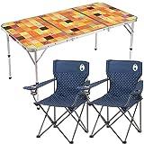 Coleman(コールマン) テーブル・チェアセット ナチュラルモザイクリビングテーブル/140プラス 2000026750 + リゾートチェア (ネイビードット) × 2個 計3点セット
