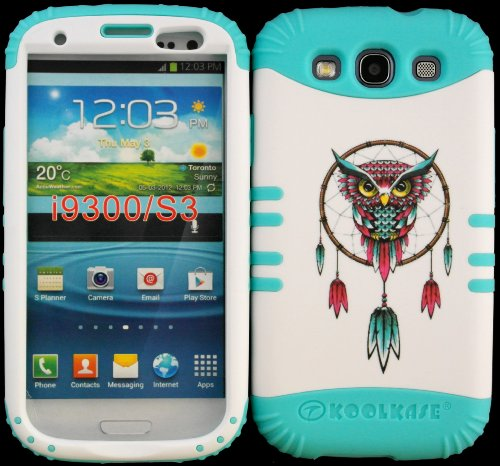 Hybrid Impact Rugged Cover Case Owl Dreamcatcher Hard Plastic Snap On Baby Teal Silicon Skin For Samsung Galaxy Slll S3 Fits Sprint L710, Verizon I535, At&T I747, T-Mobile T999, Us Cellular R530, Metro Pcs And All front-588945