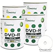 Smart Buy 400 Pack DVD-R 4.7gb 16x White Top Blank Data Video Movie Record Disc 400 Disc 400pk