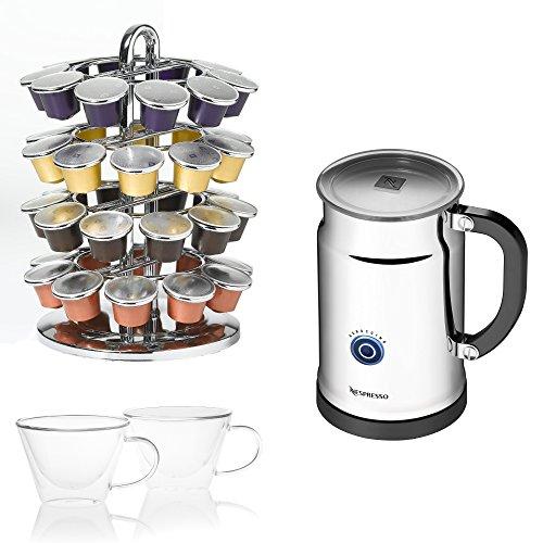 Nespresso Aeroccino Plus with Nifty Rack and 2 Luigi Bormioli 13 Ounce Cups (Nespresso 3192 compare prices)