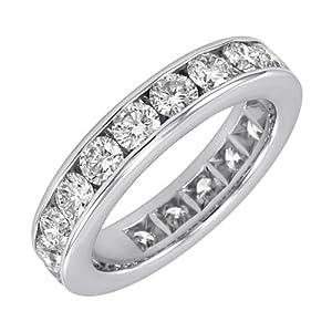14k White Gold Channel-Set Diamond Eternity Band (3 cttw, I-J Color, I2-I3 Clarity), Size 8