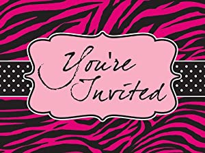 Creative Converting Pink Zebra Boutique Postcard Style Party Invitations, 8 Count from Creative Converting