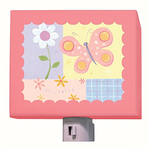 "Oopsy Daisy Butterfly Plaid Night Light, Pink, 5"" X 4"""
