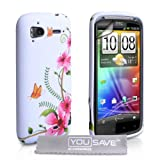 White / Multicoloured Flowers And Butterflies Pattern Silicone Gel Case Cover For The HTC Sensation / Sensation XE With Screen Protector Film And Grey Micro-Fibre Polishing Clothby Yousave
