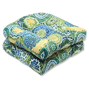 Pillow Perfect Outdoor Omnia Lagoon Wicker Seat Cushion, Set of 2 by Pillow Perfect