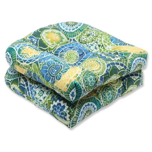 Pillow Perfect Outdoor Omnia Lagoon Wicker Seat Cushion, Set of 2 picture