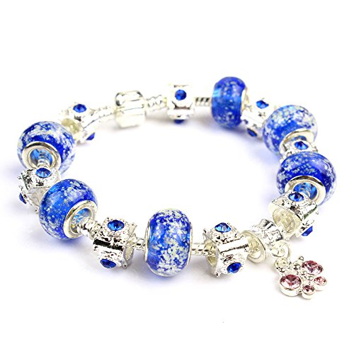 Pop Wild Fashion Jewely Women Glass Beaded Blue Pearl Bracelet (Shark Lock Boot compare prices)